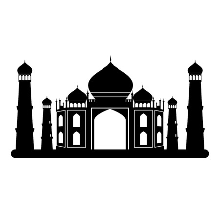 relegion: Taj mahal temple black and white. illustration. Illustration