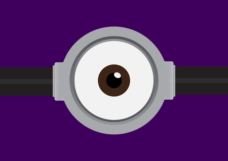 one eye: illustration of goggle with one eye on purple color background