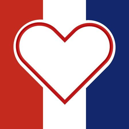 hart: White and red hart inside a national flag of france with Pray for France concept. illustration design.
