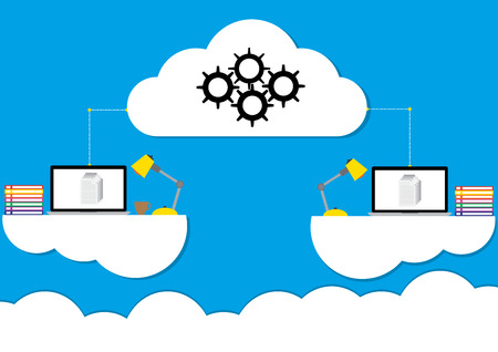 Cloud computing concept design working anywhere anytime a modern business information technology infrastructure. illustration flat design.