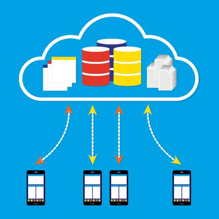 mobile application: Mobile phones working on cloud with database application and document on cloud. illustration cloud computing concept design.