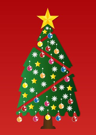 x mas background: Christmas tree with colorful ornaments on red background. illustration.