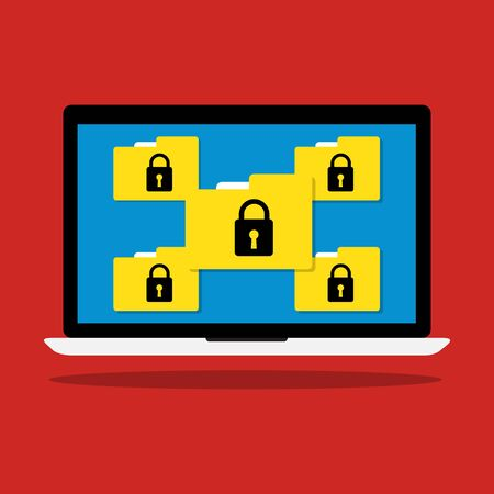 Computer laptop display icon folder with key lock of ransomware icon virus encrypted file. flat illustration business data security  concept.