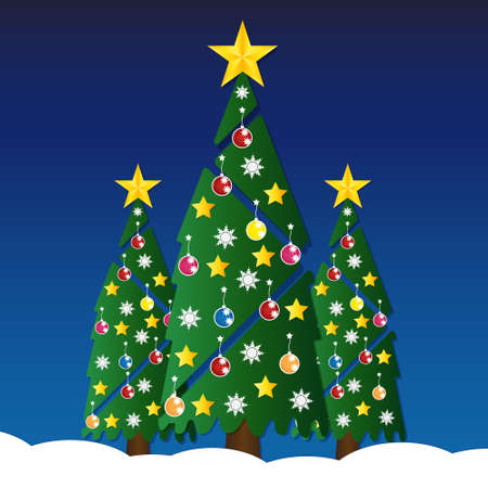 glod: Christmas tree with colorful ornaments and glod star on white snow in night light. illustration.
