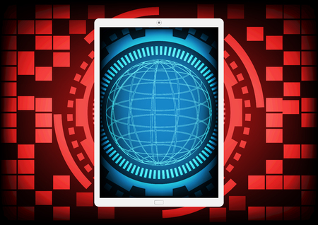 ddos: Mobile phone with the blue circle of ring and gears inside on a red gear ring technology background. Vector illustration design data protection security communication concept.