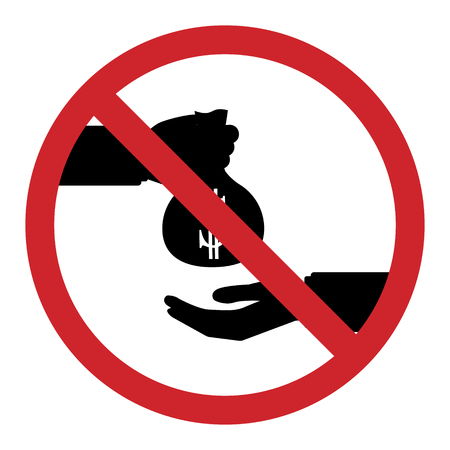 Flat design icon of restrict about businessman take bribe from partner. Corruption in business concept.