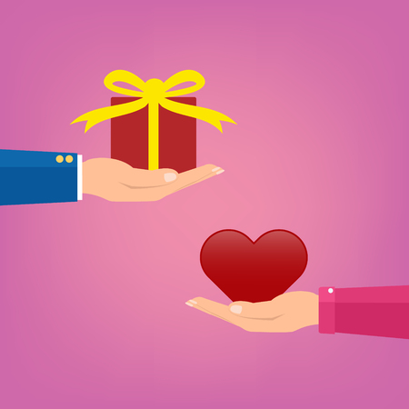 Man giving a red gift box to woman couple and woman giving love red heart on pink color. Vector illustration conceptual of love giving in valentine day. Illustration