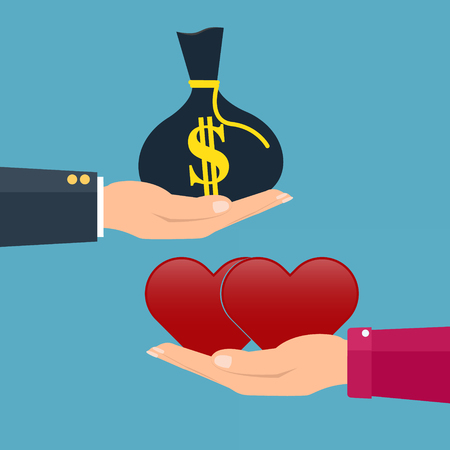 love of money: Man giving money to woman couple and woman giving love red heart. Vector illustration conceptual of love giving in valentine day.