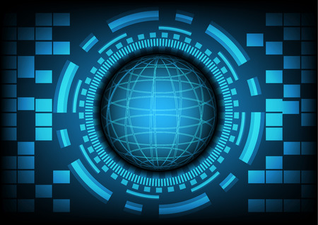 cyber warfare: Blue circle of globe with ring and gears on dark blue background. Vector illustration in technology background concept. Illustration
