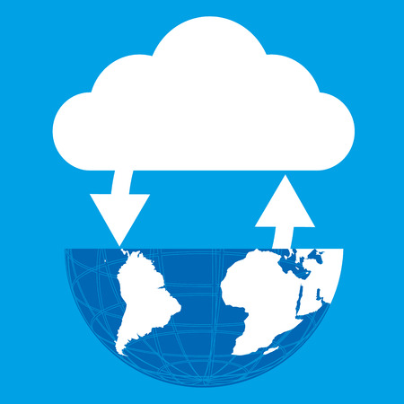 connectivity concept: Globe connected cloud on blue background. Vector illustration cloud computing technology world connectivity concept.