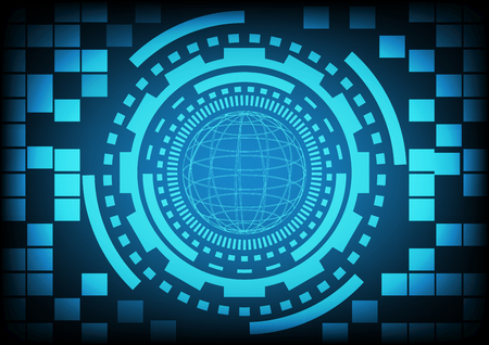 cyber warfare: Blue circle of ring and gears in technology background. Vector illustration design communication concept.