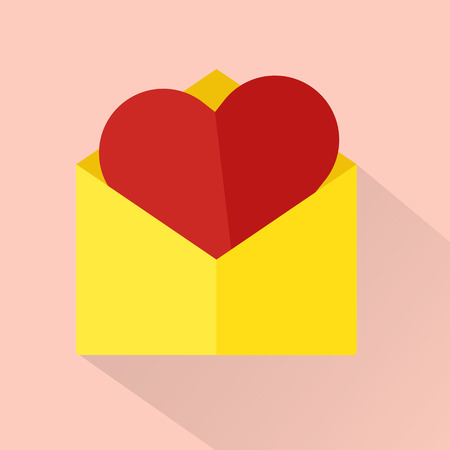 cover background time: Mail with heart insert long shadow.