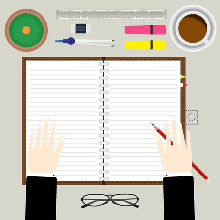 place to learn: Top view of hand hold a pencil on notebook for writing some memo with coffee and office equipment. vector illustration business concept design.