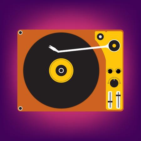disk jockey: Flat design of Disk record player for DJ music on light purple background. Vector illustration design.