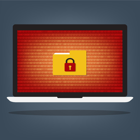 Laptop computer have folder locked key with ransomeware and malware on red binary code desktop background. Vector illustration computer security concept. Illustration
