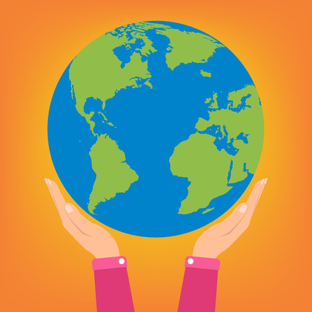 hands holding globe: Woman two hands holding globe earth on orange background. Vector illustration  love and save earth concept design.