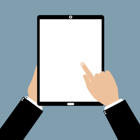 touchphone: Business man hand holding a tablet smartphone with point and touching a blank screen. Vector illustration flat design business technology concept.