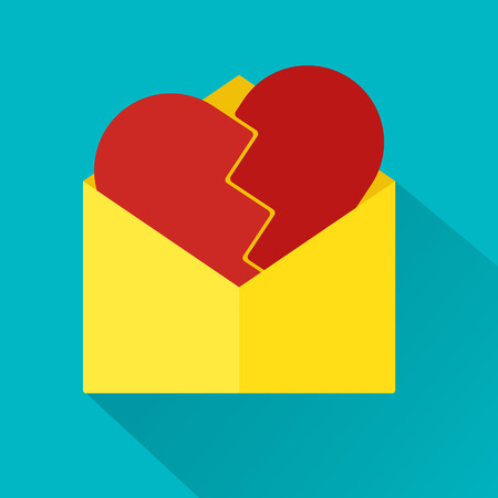 cover background time: Flat design of love letter with broken heart and long shadows. Valentine day love concept. Illustration