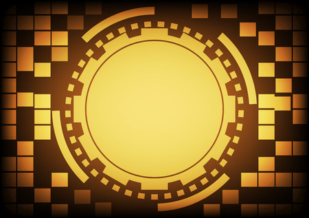 cyber warfare: Vintage old light gold circle of ring and gears in technology background. Vector illustration design communication concept. Illustration