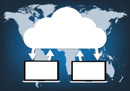 connectivity concept: Two computers laptop connected cloud on world map blue background. Vector illustration cloud computing technology world connectivity concept.