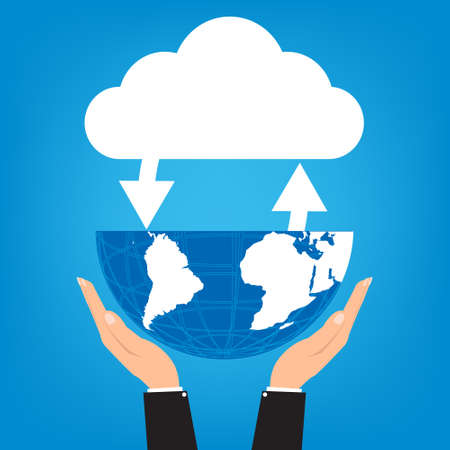 connectivity concept: Two hands of businessman holding globe with connected cloud on blue background. Vector illustration cloud computing technology world connectivity concept. Illustration