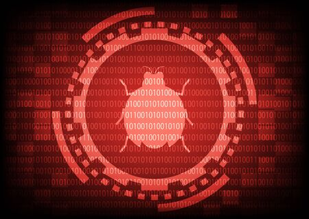 Red of ring and gears with malware bug a computer virus inside on binary code background.Vector illustration security technology concept. Illustration
