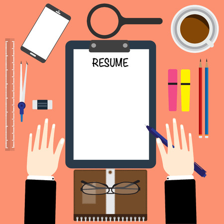writing equipment: Top view of hand hold a pen writing a resume with coffee and office equipment. vector illustration business concept design.