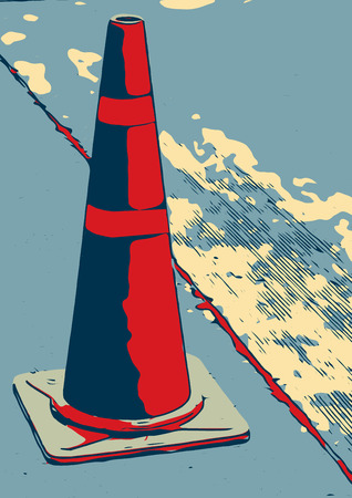 traffic cone: Traffic cone in the road abtract vintage illustration design.