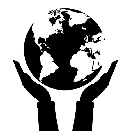 hands holding globe: Two hands holding globe earth black and white color. Vector illustration  love and save earth concept design.