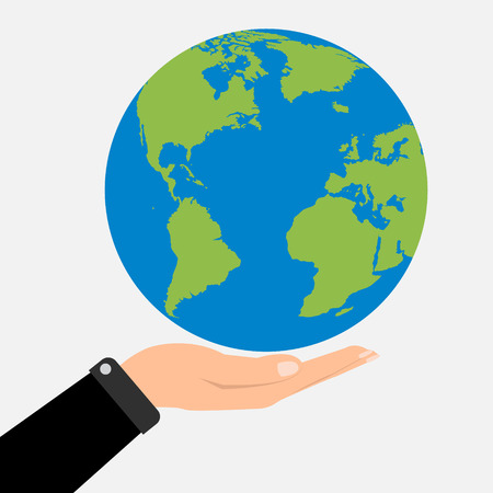 hands holding globe: Businessman hands holding globe earth. Vector illustration  love and save earth concept design.