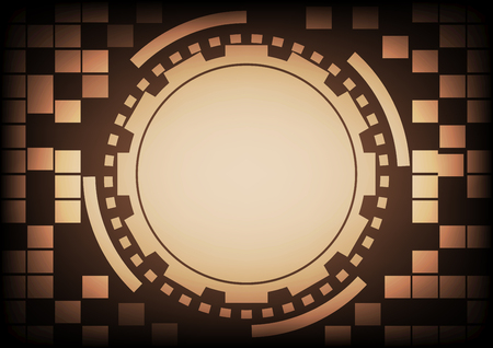 cyber warfare: Vintage old light brown circle of ring and gears in technology background. Vector illustration design communication concept.