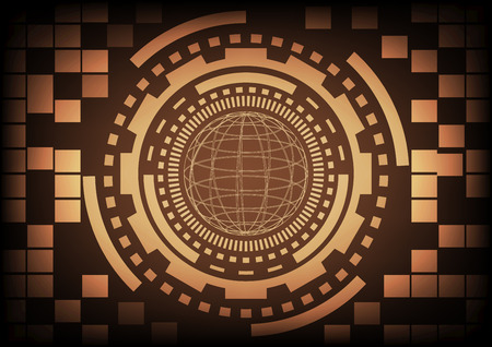cyber warfare: Vintage old light brown circle of globe ring and gears in technology background. Vector illustration design communication concept.