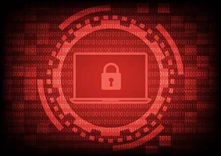 cybercrime: Comuter laptop with key in red of ring and gears on binary code background.Vector illustration security technology concept.