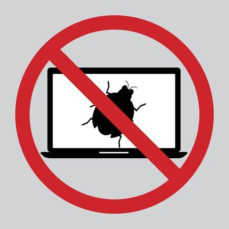 restrict: Flat design icon of restrict malware bug computer on laptop. Illustration