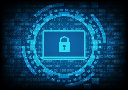 Comuter laptop met sleutel in blauw van ring en versnellingen op binaire code background.Vector illustratie beveiligingstechnologie concept.