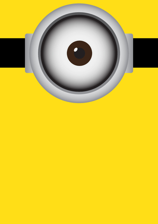 Vector illustration of goggle with cyclops on yellow color background.