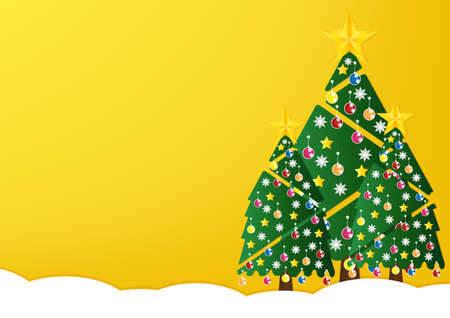 GLOD: Christmas tree with colorful ornaments and glod star on white snow in night light yellow background. Vector illustration.