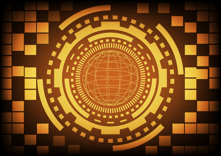 cyber warfare: Vintage old light gold circle of globe ring and gears in technology background. Vector illustration design communication concept. Illustration