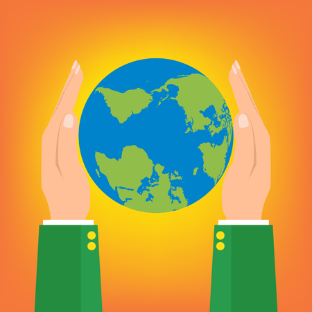 hands holding globe: Businessman two hands holding globe earth on orange background. Vector illustration  love and save earth concept design. Illustration