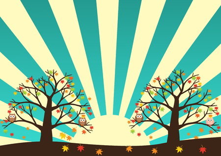 soul mate: Christmas tree with colorful ornaments and gold star on white snow in night light yellow background. Vector illustration.