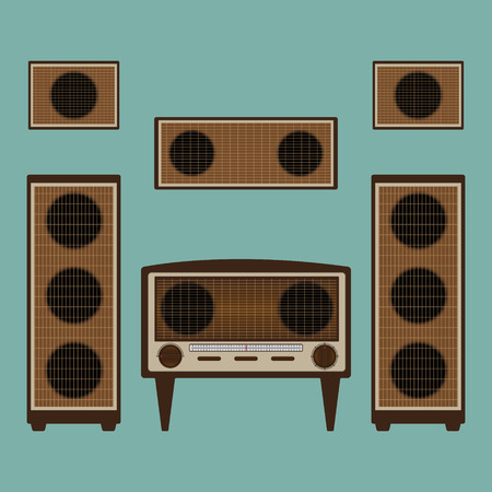 old radio: Vintage old radio brown color with loudspeaker and power amplifier on green background. Flat design vector illustration. Illustration