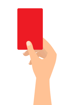 Football soccer referee hand with red card on white background. Illustration