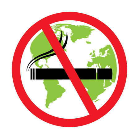 wold map: No smoking sign with green globe wold map background on white background. Vector illustration flat design World No Tobacco Day concept.