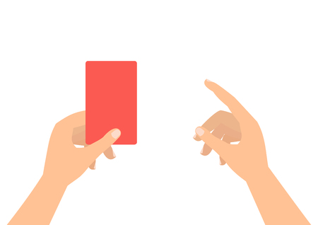 soccer referees hand with red card: Football soccer referee hands with red card and finger pointing on white background. Illustration