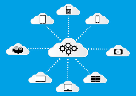 network topology: Cloud computing concept design with digital device connecting to cloud. Vector illustration design. Illustration