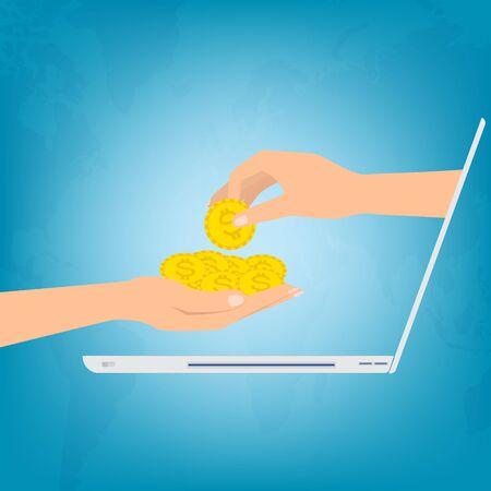 Hand van laptop computer zetten gouden munten geld bij de hand op de achtergrond van de wereldkaart. Vector illustratie werken vanuit huis op een laptop concept.