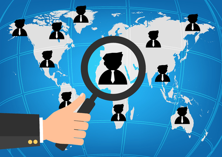 choosing: Businessman human resources hold a magnifying glass for choosing the right personal on word map for international best position.Vector illustration recruitment and job search concept.
