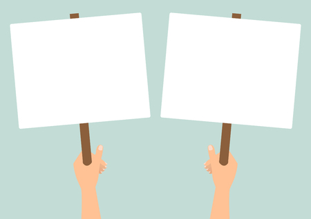 Human hands hold a blank protest signs on green background. Vector flat design. Фото со стока - 56988971
