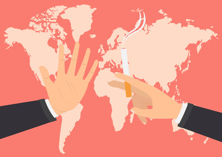 smoldering: Businessman hand refusing the offered a cigarette for smoking on world map background. Vector illustration flat design World No Tobacco Day concept.