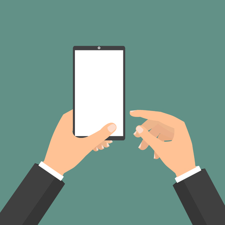 clound: Businessman holding tablet smart phone and point to display. Vector illustration clound Internet of Things concept.